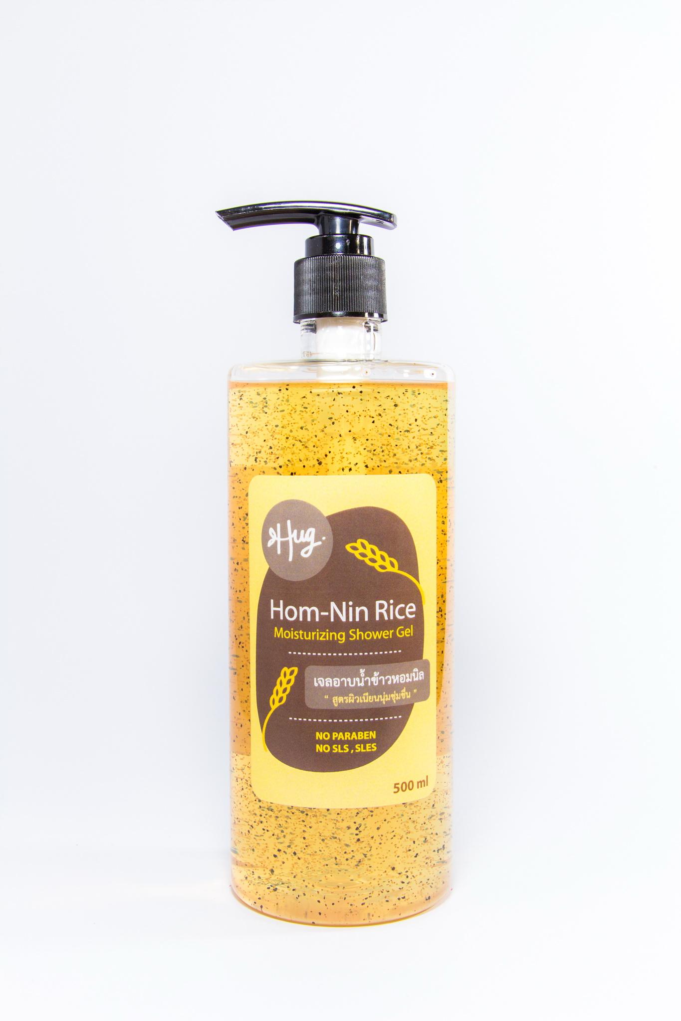 Hom-Nin Rice Moisturizing Shower Gel 500 ml (สบู่เหลวผสมสครับข้าวหอมนิล)